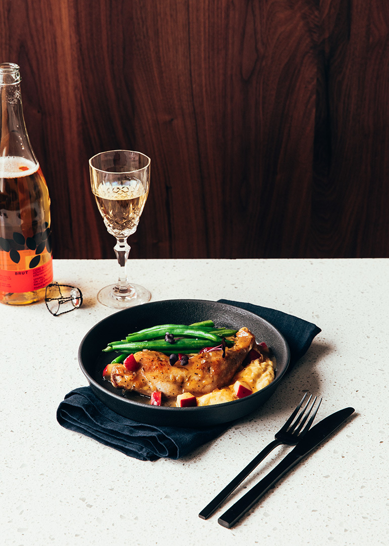 Locaal Cidrerie du minot brut cider braised pheasant leg