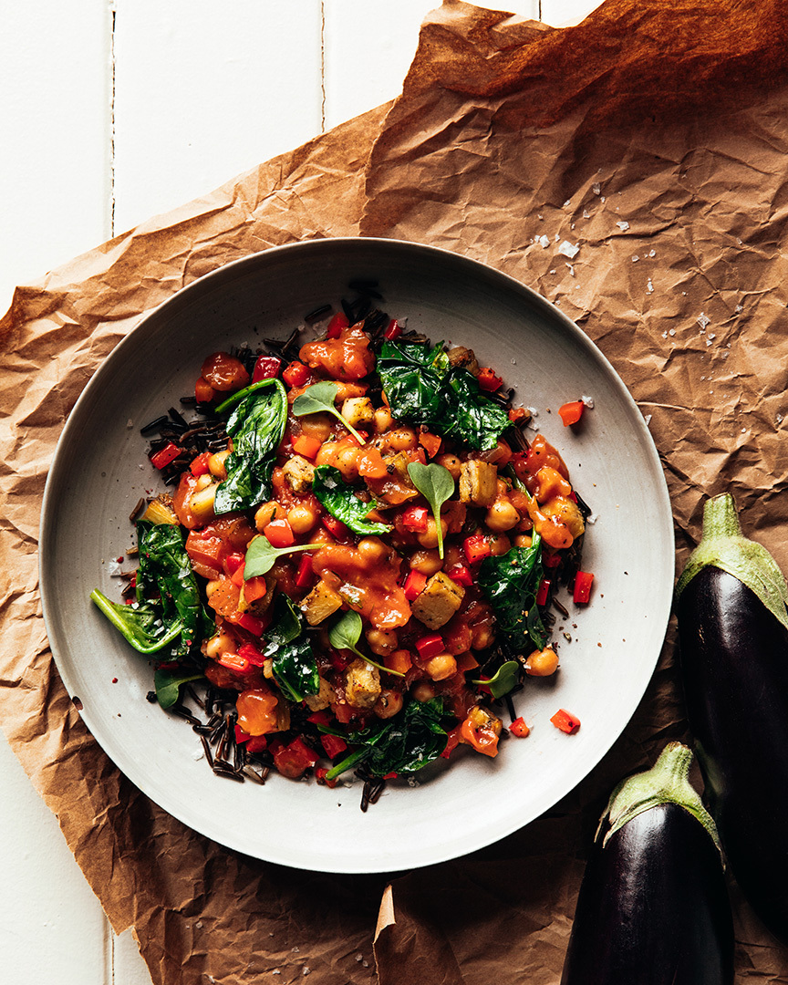 Locaal Chickpea stew with roasted peppers, eggplant and spinach