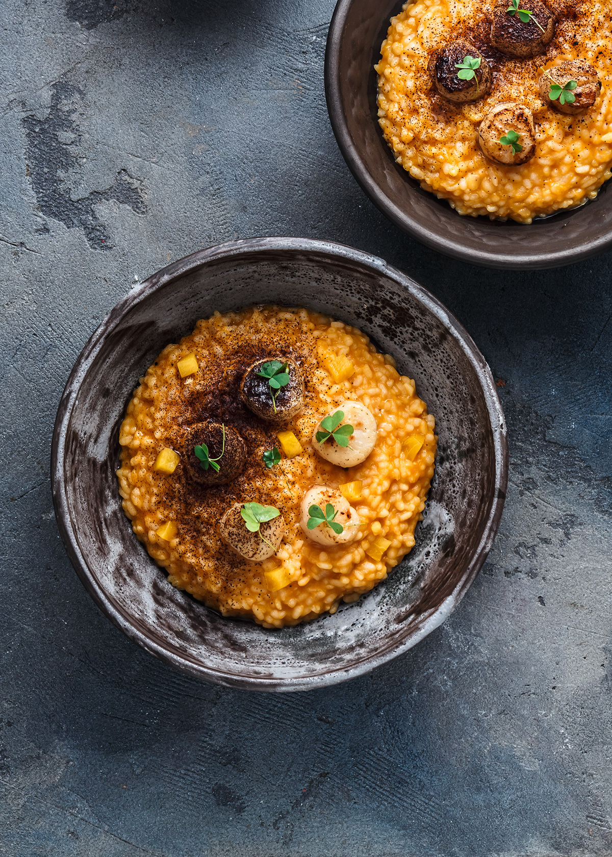 Locaal Saffron-infused barley risotto, wild mushrooms and caramelized scallops