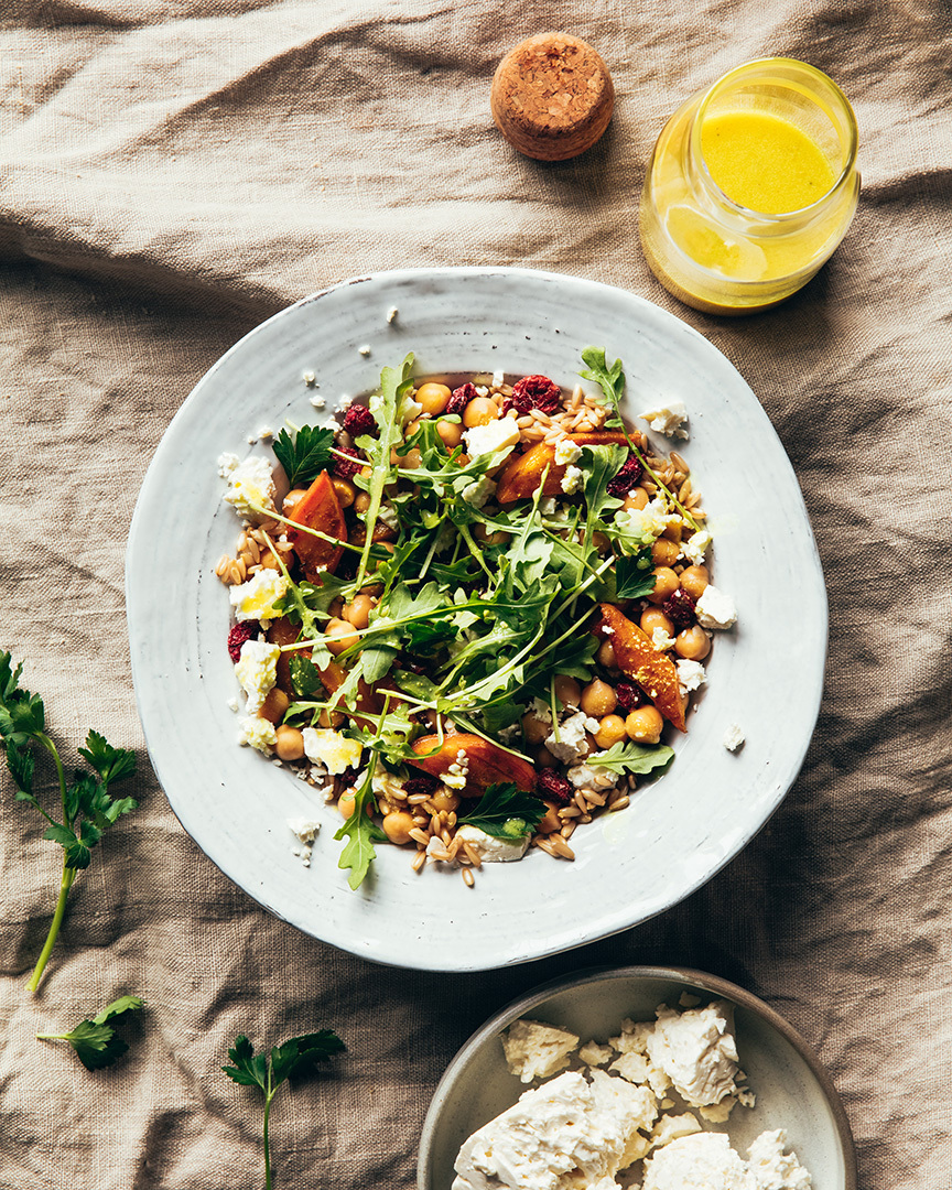 Locaal Naked oat and spice-roasted carrot salad with cranberries and Quebec feta cheese