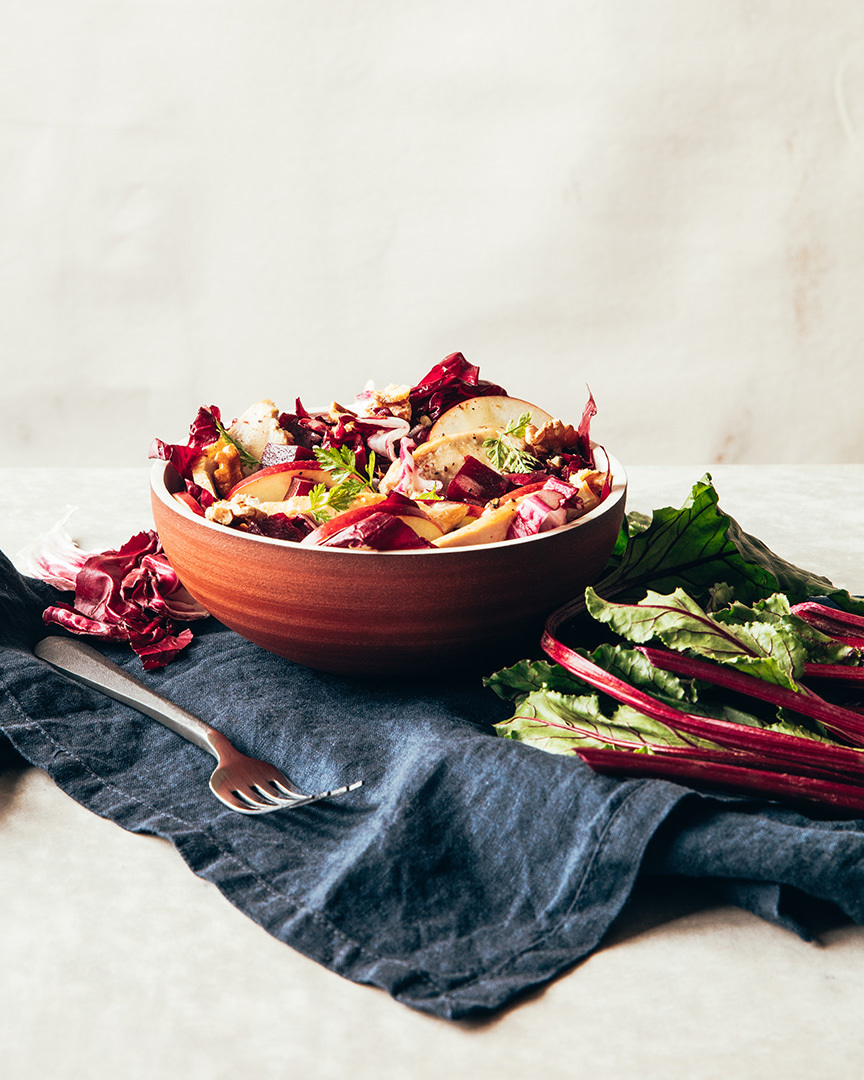 Locaal Radicchio, apple and beet salad with roasted chicken