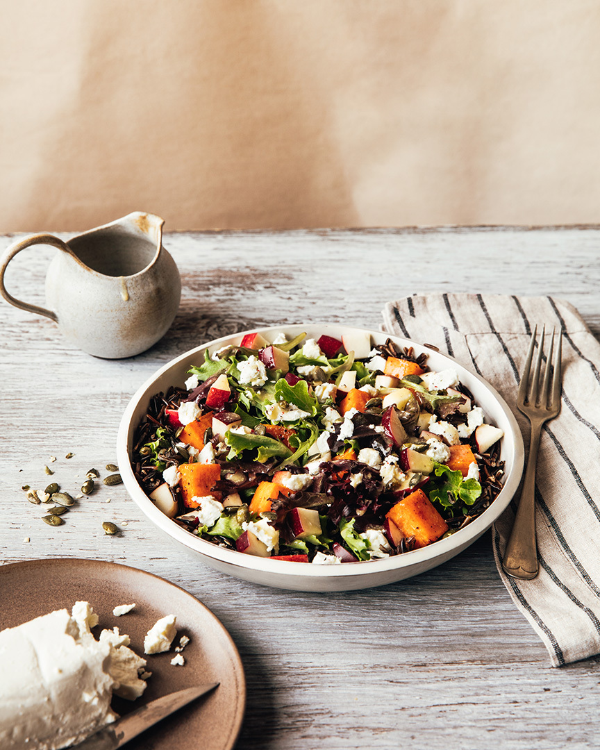 Locaal Canadian wild rice salad with roasted sweet potato, apples and goat cheese