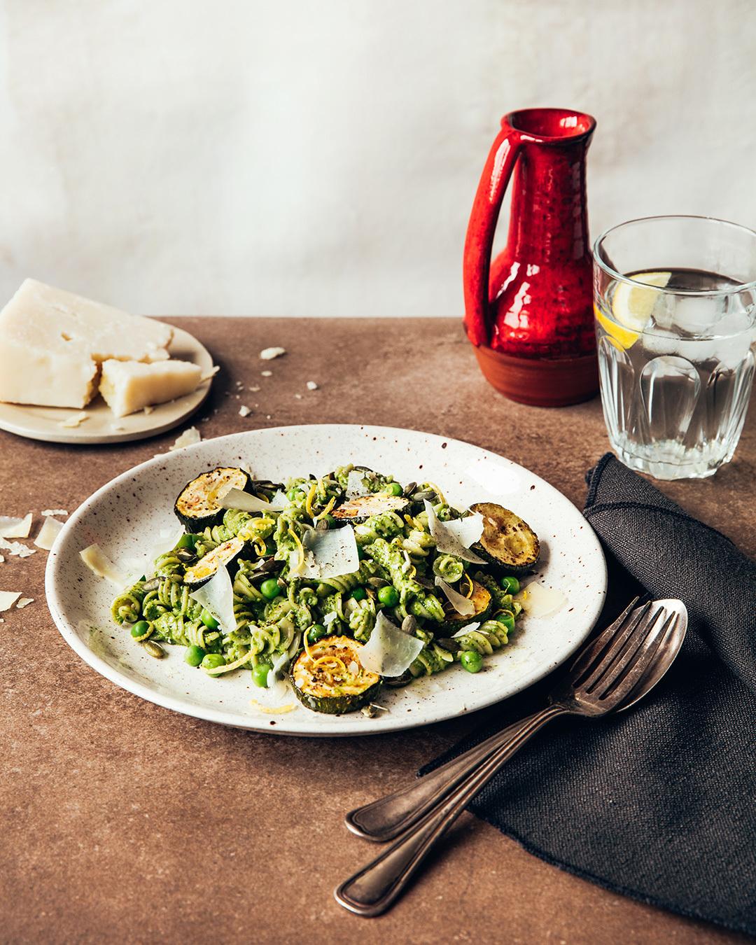 Arugula and basil pesto fusilli salad