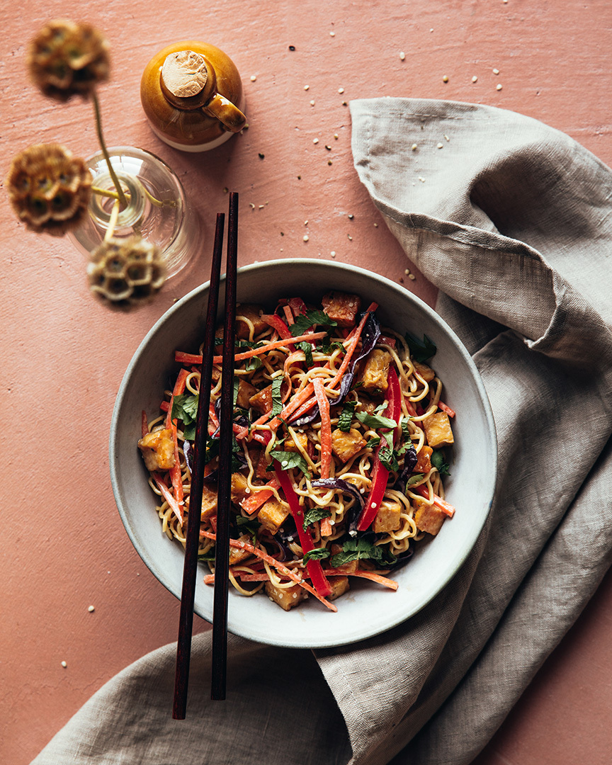 Locaal Asian noodle salad with grilled tempeh and fresh vegetables