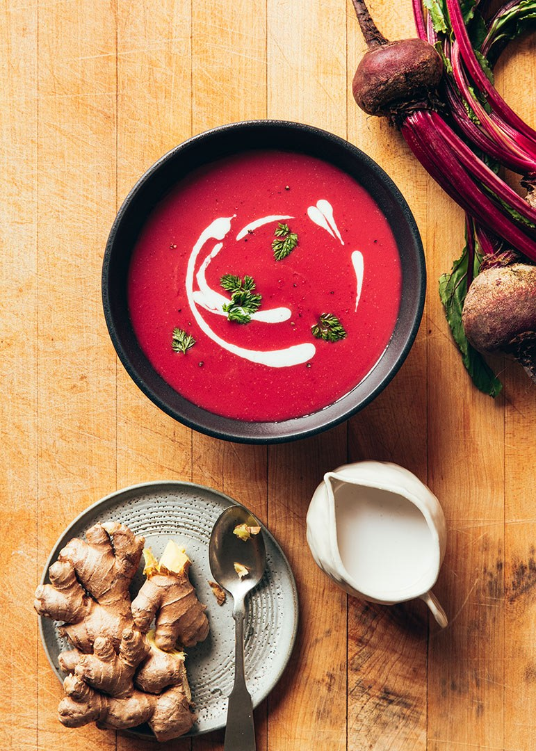 Beet, ginger and coconut cream soup